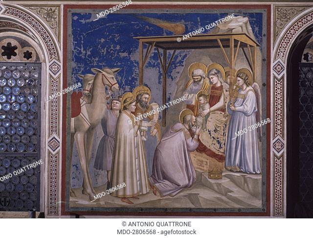 Adoration of the Magi (Adorazione dei Magi), by Giotto, 1303-1305, 14th Century, fresco. Italy, Veneto, Padua, Scrovegni Chapel