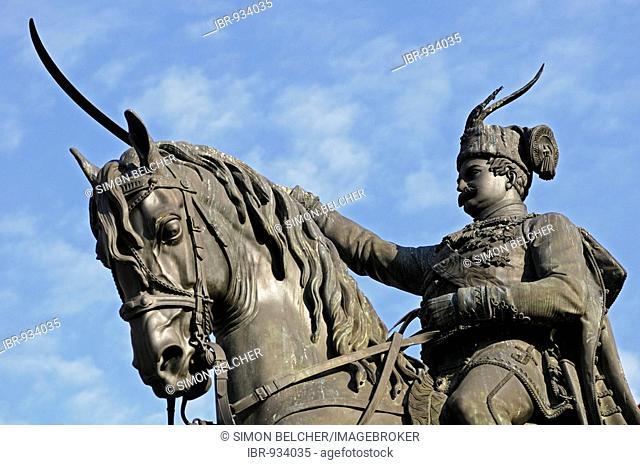 Statue of King Josip, partial view, main square Ban Jelacic, Zagreb, Croatia, Europe
