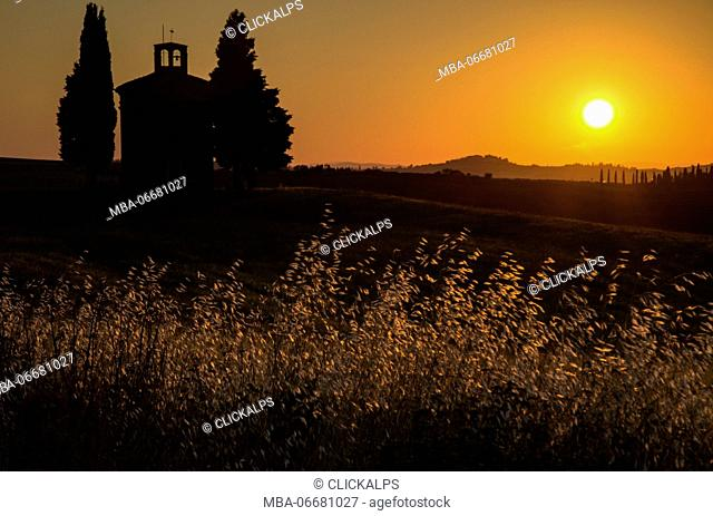 The silhouette of the chapel of Vitaleta in Val d'Orcia,tuscany, italy,europe