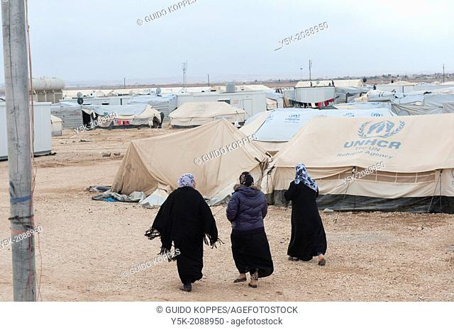 Al Za'atari, Al Mafraq region, Jordan, Middle-East. Every single day new people and families arrive in the UNHCR refugee camp Al Za'atari