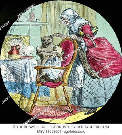 He was feeding the cat - Cat in high chair being fed . old lady looking on. Part of Box 52 Boswell collection. Nursery Rhymes