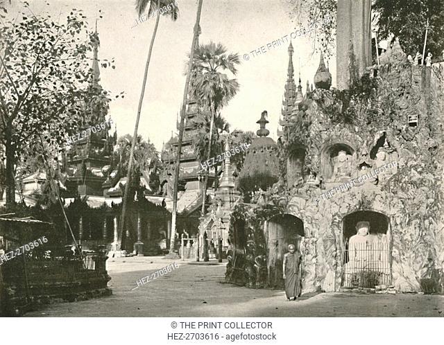 'Shrines at the Shwe Dagon Pagoda, Rangoon', 1900. Creator: Unknown