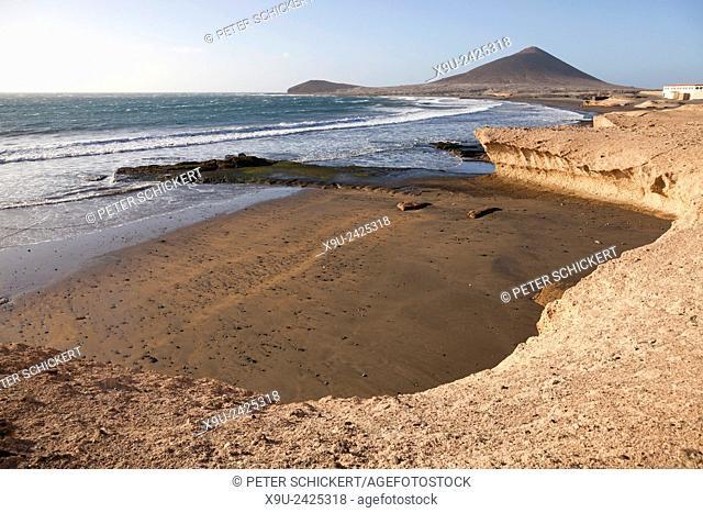 beach and Mount Montana Roja in El Medano, Granadilla de Abona, Tenerife, Canary Islands, Spain, Europe