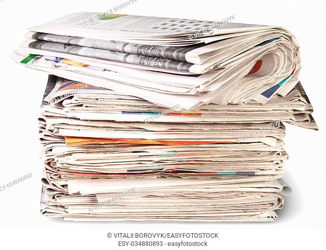 Stack Of Newspapers And The Roll Isolater On White Background