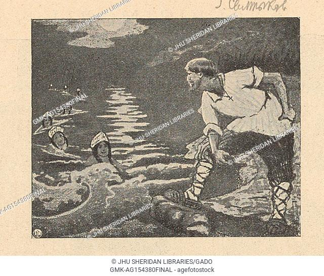 Illustration from the Russian satirical journal Na Rasputi (At the Crossroads) of a fisherman standing on a shore looking at a line of swimming mermaids who are...