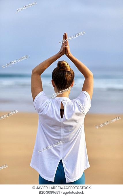 Yoga, Beach, Zarautz, Gipuzkoa, Basque Country, Spain, Europe
