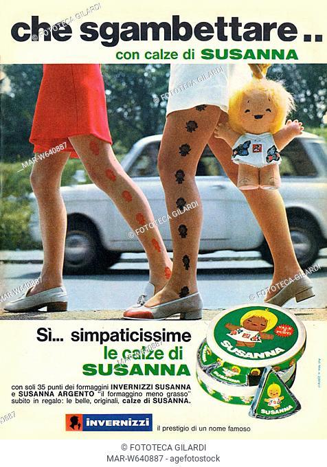 903bbacaf36 PUBBLICITÀ Che sgambettare.. con calze di Susanna. Campagna stampa per i  formaggini
