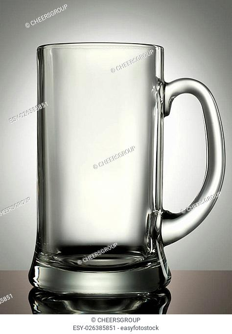 empty beer glass on a white background