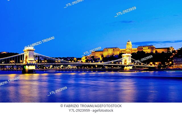 Szechenyi Chain Bridge with Royal Castle, Budapest, Hungary