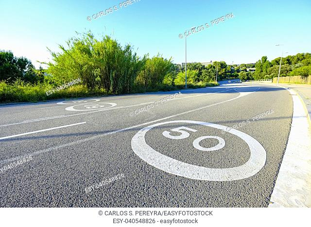 Traffic sign on a street without cars in Sant Cugat del Valles in Catalonia Spain