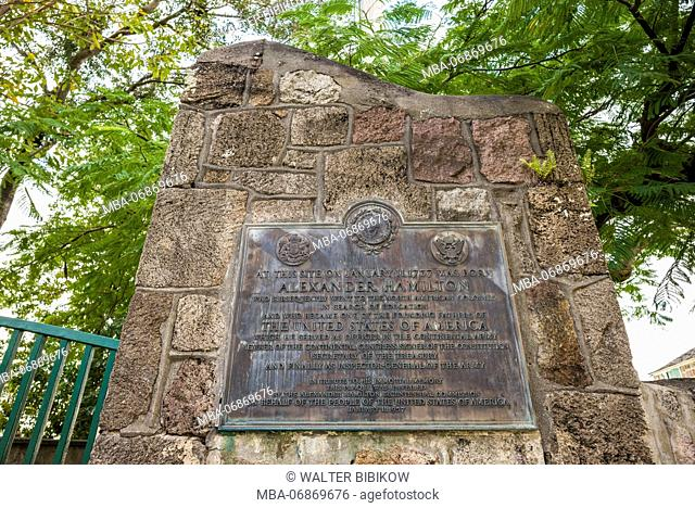 St. Kitts and Nevis, Nevis, Charlestown, marker comemorating birthplace of Alexander Hamilton, first US Secretary of State