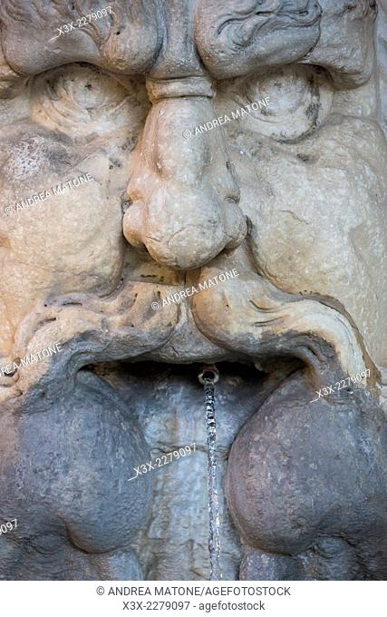 Close up Water fountain at Giardino degli Aranci. Rome Italy