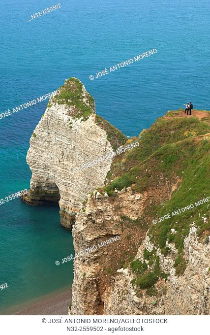 Etretat. Normandy, Porte d'Amont Cliff, Falaise Porte d'Amont, Seine Maritime, Upper Normandy, Haute Normandie, France