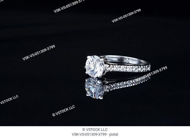 USA, Illinois, Metamora, Diamond ring on black background