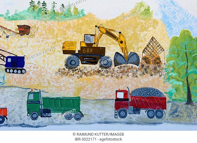 Naive wall painting, excavators and trucks in a landscape during earthworks