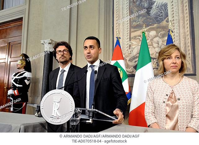 Danilo Toninelli, Leader of 5 Star Movement Luigi Di Maio, Giulia Grillo after the meeting with the Republic President, Quirinale PALACE, rOME, italy-07-05-2018