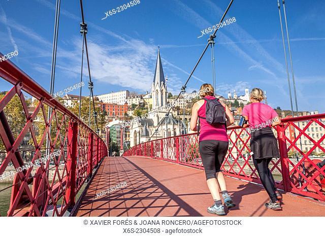 Saint-Georges church and footbridge in Lyon, Rhône, Rhône-Alpes, France