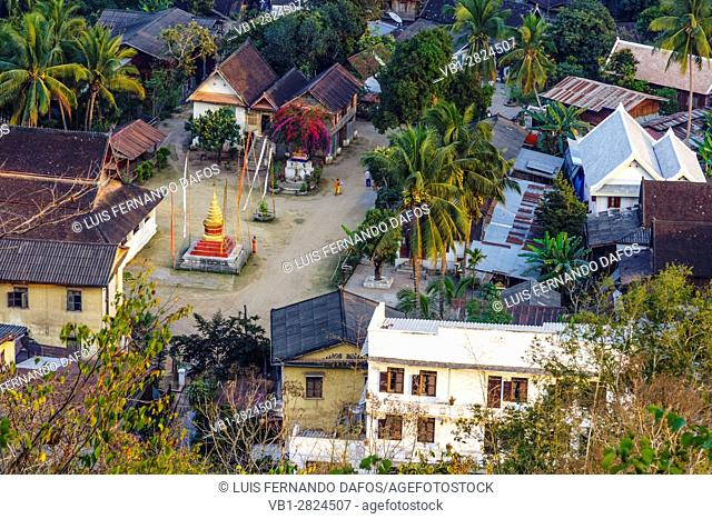 Overhead from Phou Si Hill of the UNESCO listed city of Luang Prabang, Laos, South East Asia