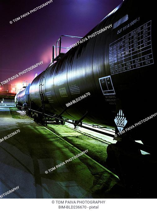 Oil tanks on railroad tracks