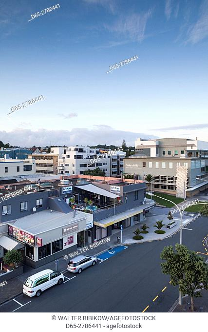 New Zealand, North Island, New Plymouth, elevated town view