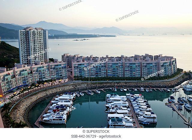 High angle view of yachts at a marina, Discovery Bay Marina Club, Discovery Bay, Lantau, Hong Kong, China