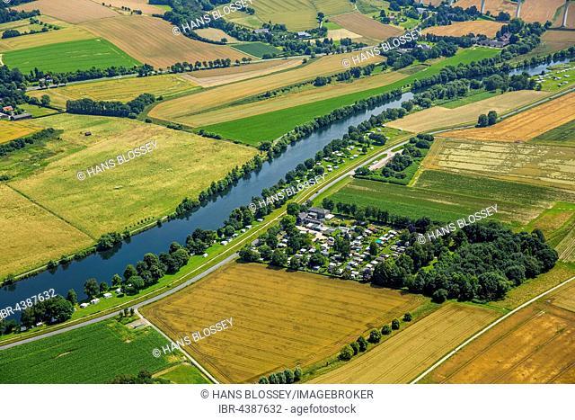 Aerial photograph, Ruhr valley, Ruhr district, Ruhr floodplains with camping site, Mülheim an der Ruhr, Ruhr district, North Rhine-Westphalia, Germany