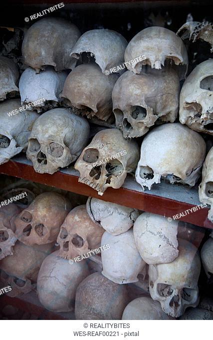 Cambodia, Phnom Penh, Killing Fields, skulls of victims of the Khmer Rouge