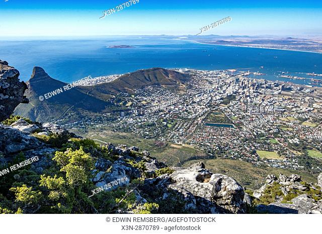 The City Bowl of Cape Town, South Africa. Seen from the top of Table Mountain