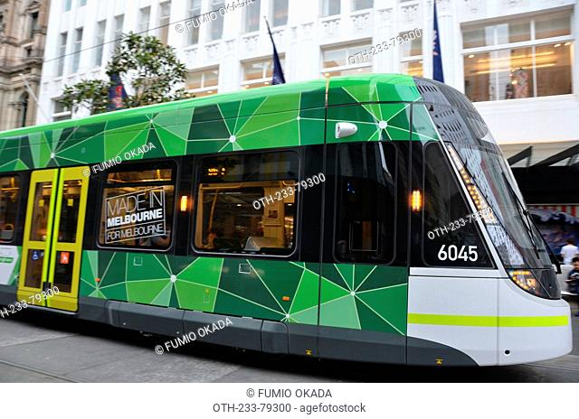 Bourke Street Mall, opened in 1983, a pedestrian and tram-only strip, downtown Melbourne, Victoria, Australia