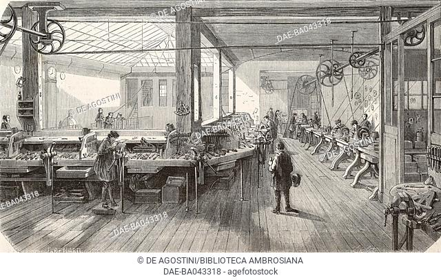 Interior of the Molteni precision instrument factory, on Rue du Chateau, Paris, France, illustration from L'Illustration, Journal Universel, No 614, Volume XXIV