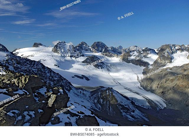 Jam Valley Glacier with Three Country Peak and Piz Buin, Austria, Silvretta