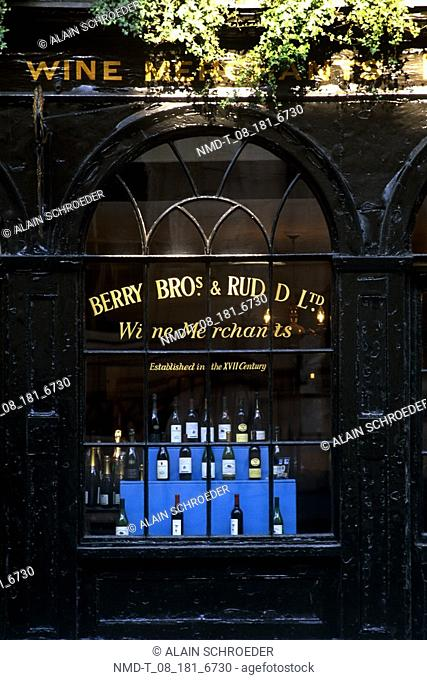 Wine bottles in a liquor store, Berry Bros & Rudd Wine Merchant, St  James's, London, England