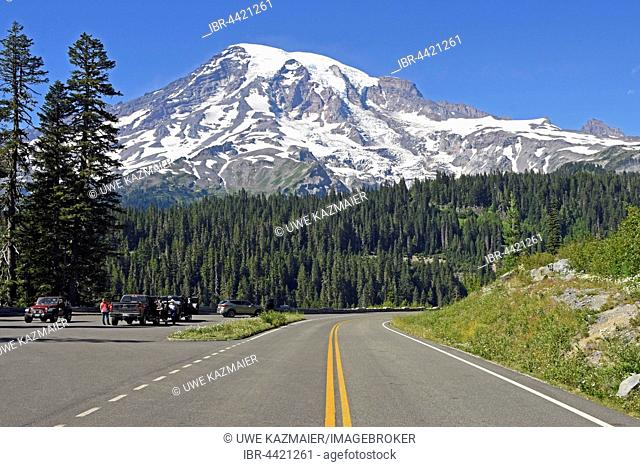 Snow-capped summit of Mount Rainier and road, Mount Rainier National Park, Cascade Range, Washington, Pacific Northwest, USA