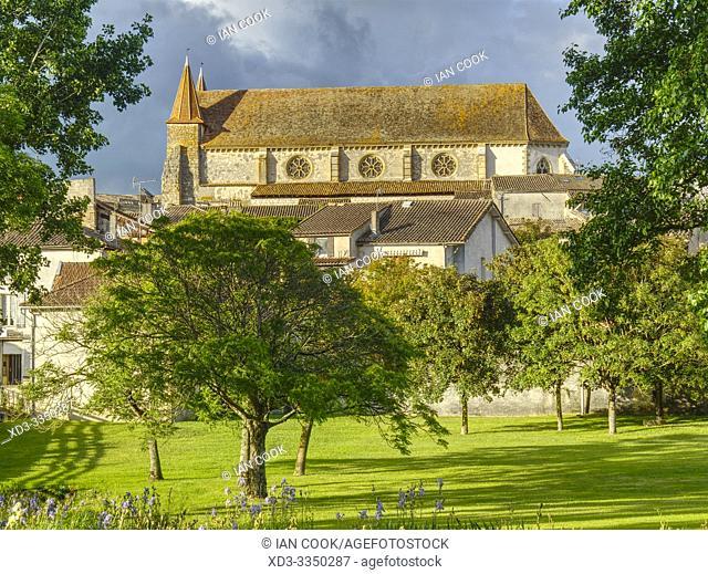 municipal park and St Etienne Church, , Lauzun, Lot-et-Garonne Department, Nouvelle Aquitaine, France