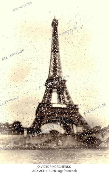 Eiffel Tower in the rain, Parice, France