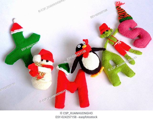 Christmas, Xmas alphabet, handmade, knitted