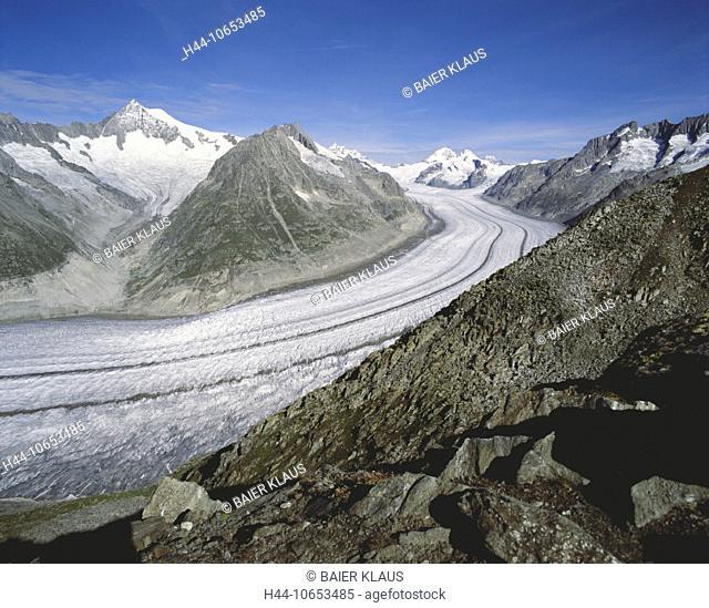 10653485, Aletsch glacier, glacier, Switzerland, Europe, Alps, mountains, rocks, cliffs, glaciers, canton Valais, scenery