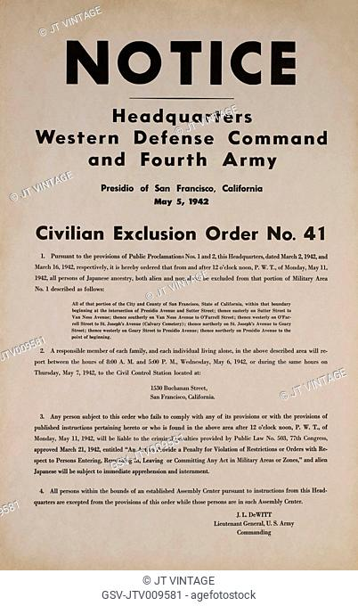 Civilian Exclusion order #41, Part I, Directing Removal by May 11 of Persons of Japanese Ancestry, 1530 Buchanan Street, San Francisco, California, USA