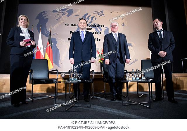 23 October 2018, Berlin: Federal President Frank-Walter Steinmeier (2nd from right) and Polish President Andrzej Duda (2nd from left) take part in the 19th...