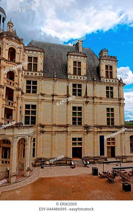 Fragment of Chateau de Chambord palace in Eure et Loir department of Loire valley region, France