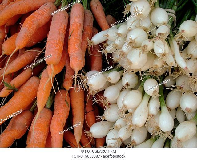 Montpelier, VT, Vermont, Farmer's Market, scallions, carrots, bunches