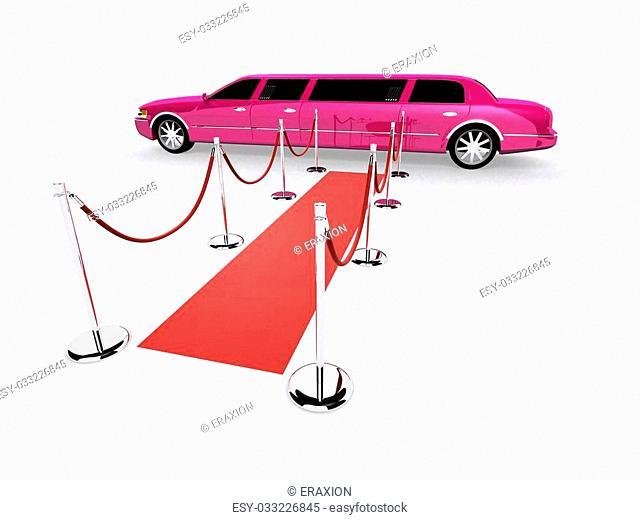 3d rendered illustration of a limousine on a red carpet