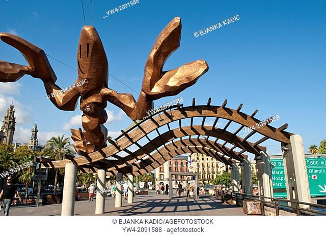 Crab sculpture at Moll de la Fusta - Wood Dock which runs along Passeig de Colom, Barcelona, Catalonia