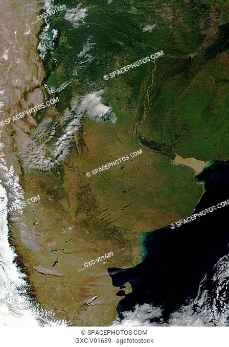 This image over Argentina was acquired on April 24, 2000, and was produced using a combination of the sensor's 250-m and 500-m resolution true color bands