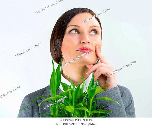 Adult business woman holding lucky bamboo plant symbol of success. Business growing concept