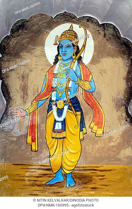 Ramavtar or perfect human ; seventh incarnation of Lord Vishnu colourfully painted on wall of Vishnu Narayan temple at top of Parvati ; Pune ; Maharashtra ;...