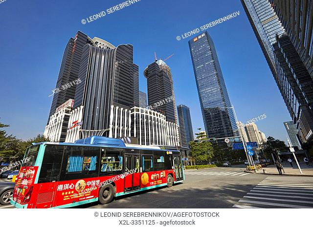 Electric city bus in Futian Central Business District (CBD). Shenzhen, Guangdong Province, China