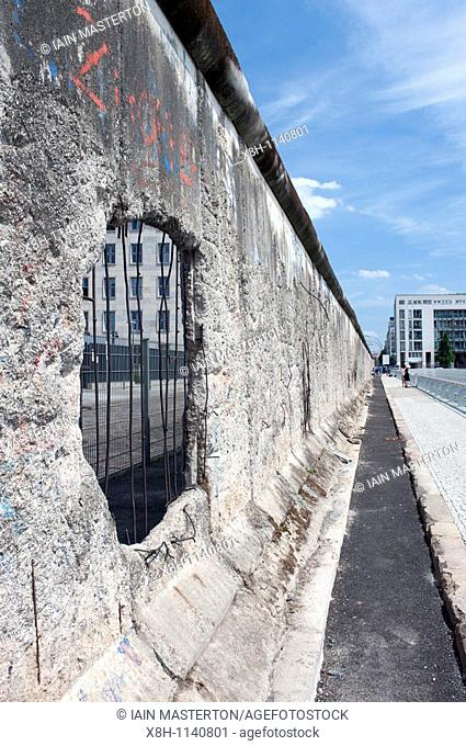 Original section of Berlin Wall at former Gestapo headquarters at Topography of Terror visitor center in Berlin Germany