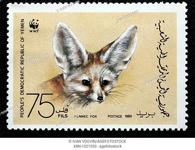 Fennec fox Vulpes zerda, postage stamp, Yemen, 1989