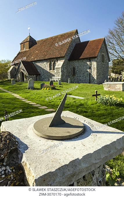 St Mary's church in Friston, East Sussex, England. South Downs National Park